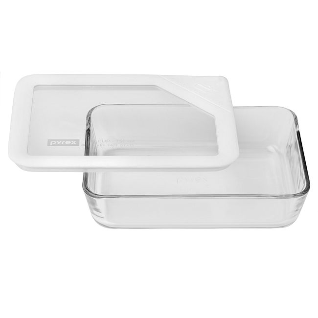 3-cup Rectangular Glass Food Storage Container with White Lid