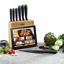 7 Slot Digital Tablet Holder Block with knives in front and vegetables