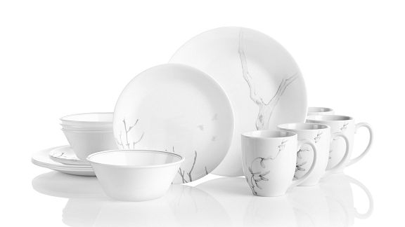 Silver Birch collection, a gray pattern on white Corelle