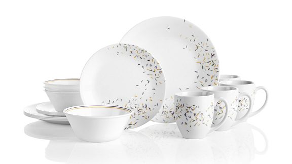 Autumn Dance pattern featuring gold, green and purple flecks on white corelle dinnerware