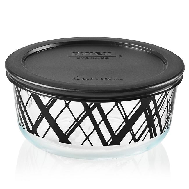 Noir 4-cup Glass Food Storage Container with Black Lid