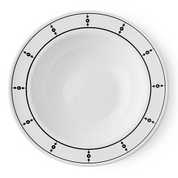 Livingware™ Pearls 28-oz Wide Rimmed Bowl  Black  &  White Top View