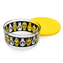 EXCLUSIVE LIMITED EDITION Simply Store® 4 Cup Party Bones Round Storage Dish with Yellow Lid