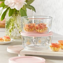 4-cup Disney Princess Glass Food Storage on the counter with small tarts inside