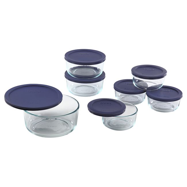 14-piece Glass Food Storage Container Set with Blue Lids