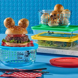 Mickey Mouse™ 8-pc Glass Storage Set with hamburgers and rolls on the table