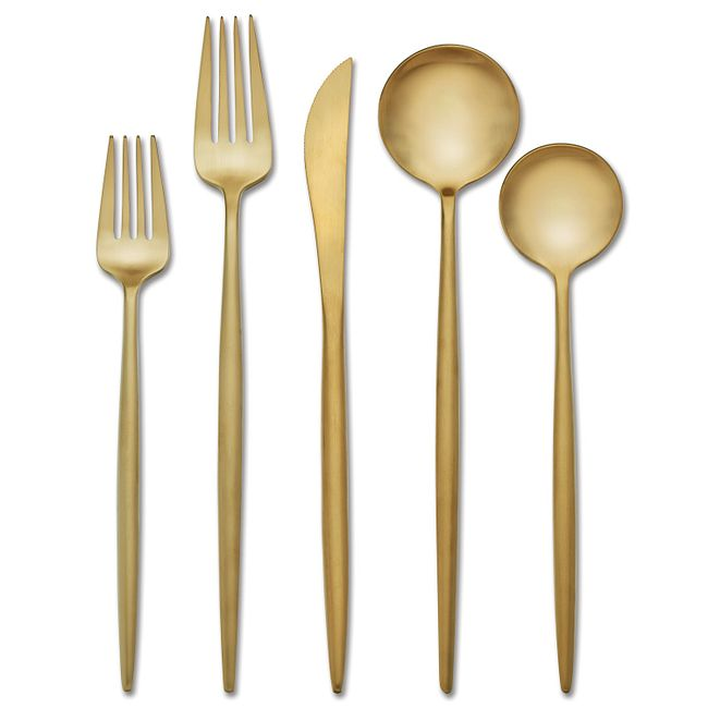Skandia Zephyr Satin Gold 20-piece Flatware Set, Service for 4