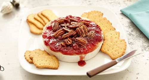 Baked Brie with Cherry Preserves and Sweet Rosemary Pecans
