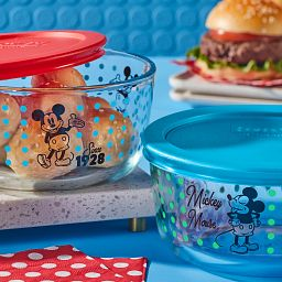 Mickey Mouse - Since 1928  4-pc Set on the table with hamburgers