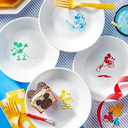 "6.75"" Appetizer Plate, 4-Pack: Mickey Mouse™ - The True Original on the table with a sandwich cut like Mickey Mouse"