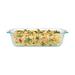 "Pyrex 7"" x 11"" Baking Dish Shown with Food Inside"