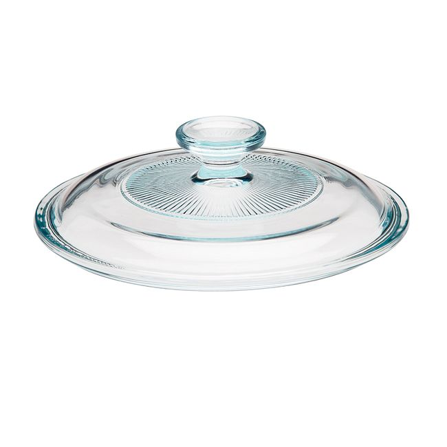 French White Fluted Glass Lid for 1.5-quart Round Baking Dish