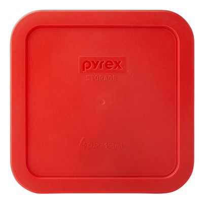 Pyrex 4 Cup Square Storage Plastic Lid, Red