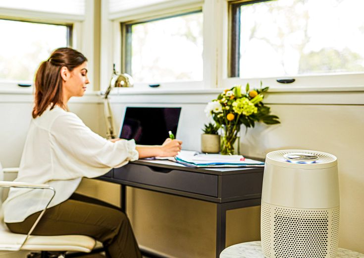 woman at desk with computer and air purifier