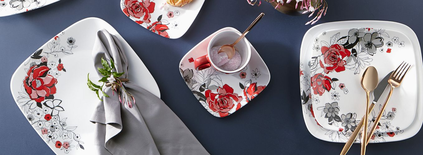 Chelsea Rose square dinnerware pattern featuring red, pink and grey roses.