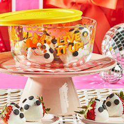 Minnie Mouse Live it up Decorated Storage Container with food on cake pedestal