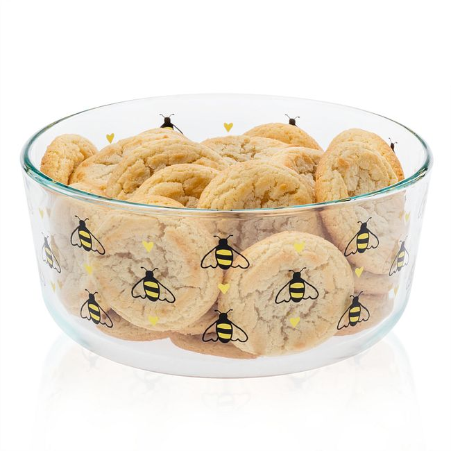 Bee Happy 7-cup Glass Food Storage Container (Lid Sold Separately)