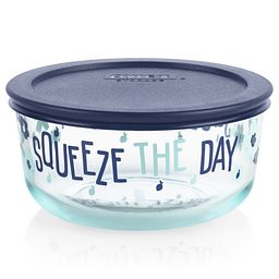 Squeeze the Day 4-cup Glass Food Storage Container shown with the lid on which is sold separately