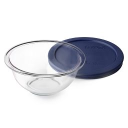 1-quart Mixing Bowl with Dark Blue Lid laying beside the bowl