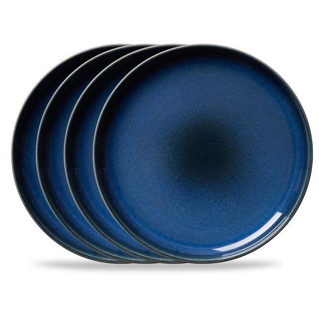 "Stoneware 10.5"" Dinner Plates, Navy, 4-pack"