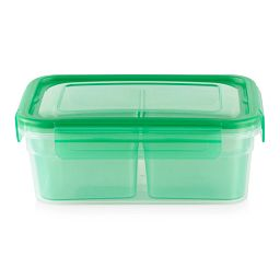 Meal Prep 2-section Divided: 4.6-cup Rectangle Storage Container with green lid