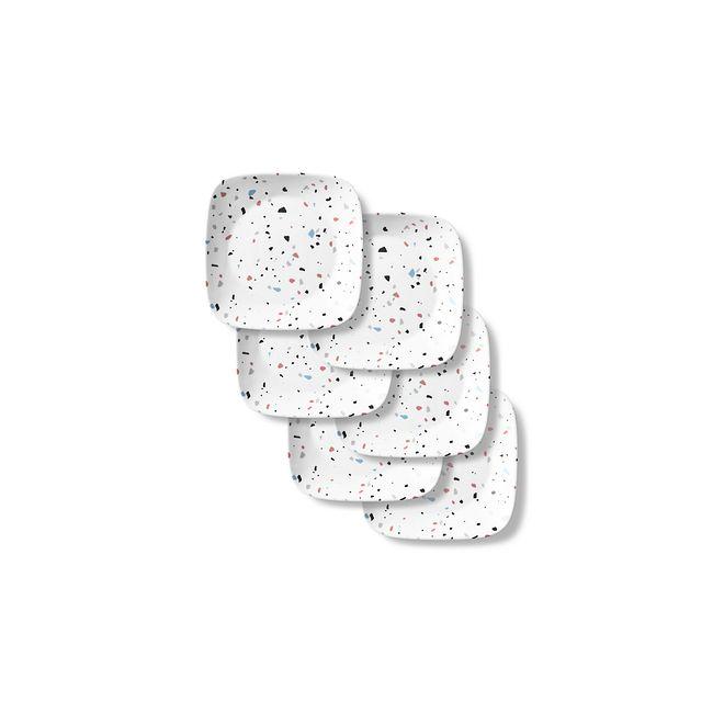 "Terrazzo Rosa Square 6.5"" Appetizer Plates, 6-pack"