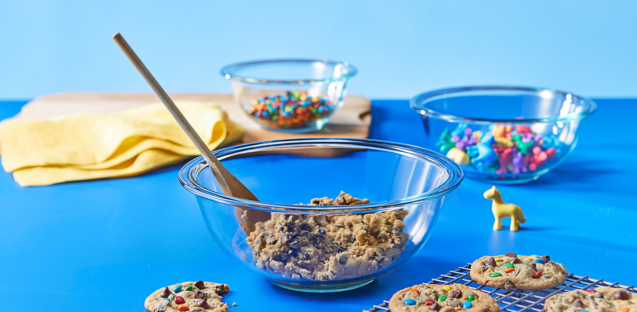 Mixing Bowls showing cookies being made