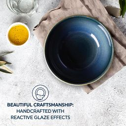 Text that says: Beautiful craftmanship: handcrafted with reactive glaze effects