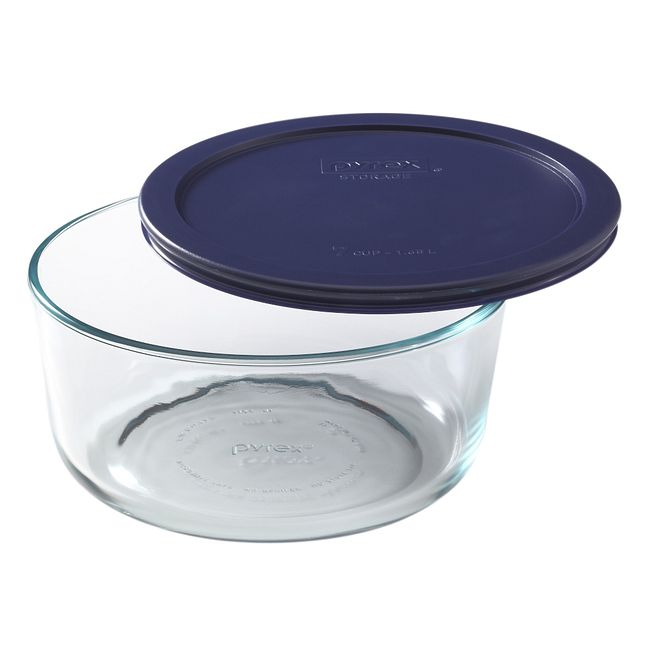 7-cup Glass Food Storage Container with Blue Lid