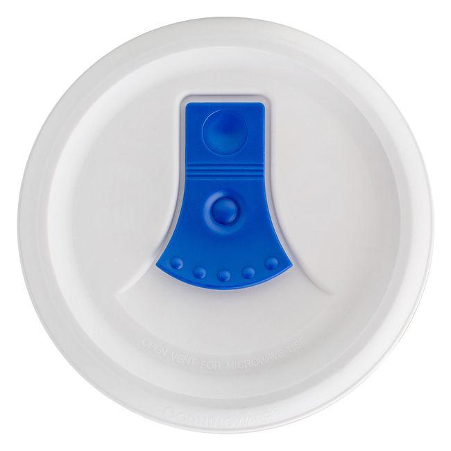 French White Meal Mug 20-oz Plastic Lid w/ Blue Vented Tab