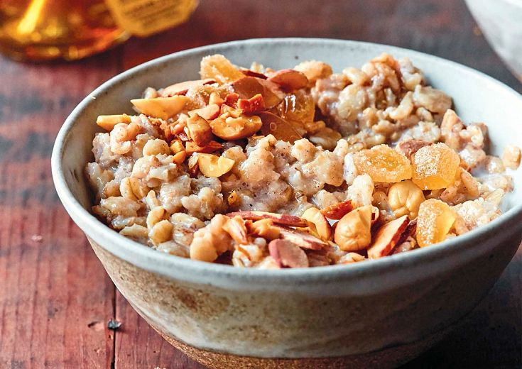 Ginger Almond Oatmeal in a bowl