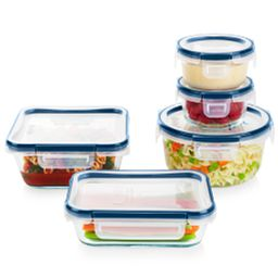 FreshLock Plus™ Glass Storage with Microban 10-piece Set with food inside