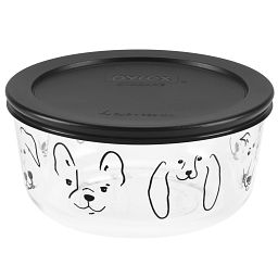 4 Cup My Best Friend Round Storage Dish w/ Black Lid On