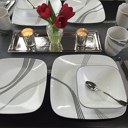 Square Urban Arc 16-pc Dinnerware Set on the Table