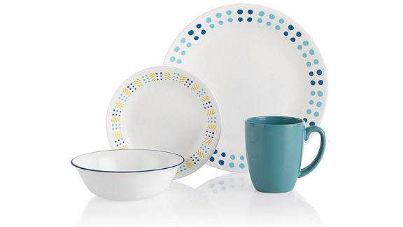 Corelle dinnerware pattern key west which features blue and turquoise polka dots with some yellow accents