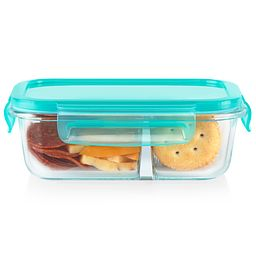 MealBox 2.1 cup Rectangular Divided Glass Storage Container with Turquoise Lid with cheese and crackers