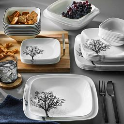 Timber Shadows 44-piece Dinnerware Set, Service for 8 on the table with food
