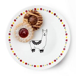 "Falalala Llama Benny 6.75"" Appetizer Plate with 2 cookies on it"