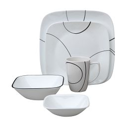 Square™ Simple Lines 16-pc Dinnerware Set w/ Bonus Bowls