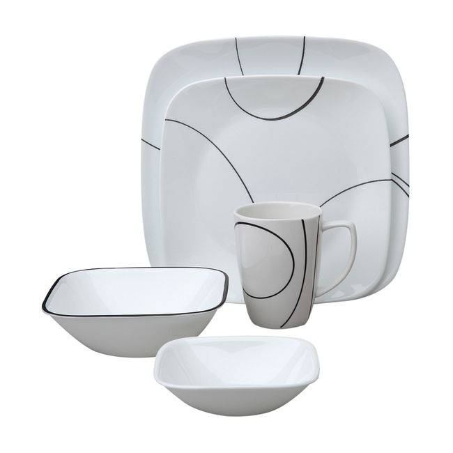 Square Simple Lines 30-pc Dinnerware Set