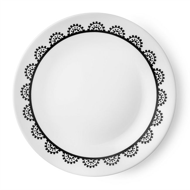 "Livingware Lace 6.75"" Plate, Black & White"