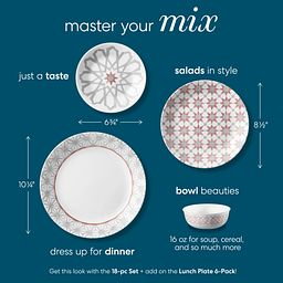 photo of coordinating Amalfi Rosa dinnerware pieces