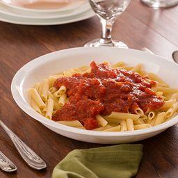 """Livingware™ Winter Frost White 9"""" Multi-Purpose Dish with Pasta in bowl"""