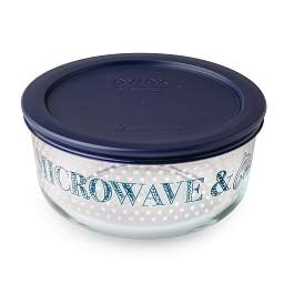 4 Cup 'Microwave  &  Chill' Storage Dish w/ Dark Blue Lid On