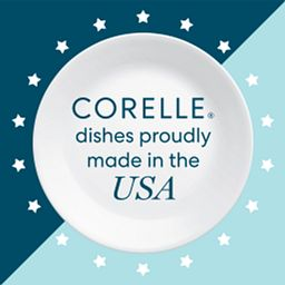 text that says Corelle dishes proudly made in the USA