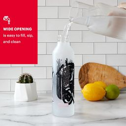 """Textural Art 17.5-oz Glass Water Bottle with Silicone Coating with text """"wide opening is easy to fill up,sip & clean"""