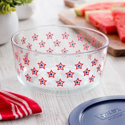 Simply Store 4 cup Stars Storage Dish with Blue Lid on the table