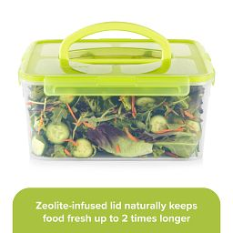 Meal Prep 18-cup Bulk Storage Container with Lid with veggies inside; zeolite infused lid naturally keeps food fresh longer