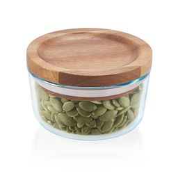 Glass Storage 1 Cup Round Dish with Wood Lid with food inside