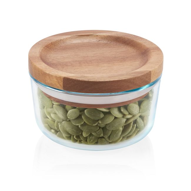 1-cup Glass Food Storage Container with Wood Lid
